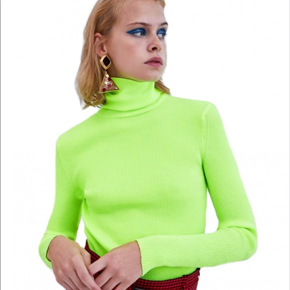 e0604040 Zara Sweaters | Lime Green Ribbed Turtleneck | Poshmark